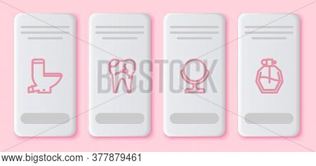 Set Line Toilet Bowl, Broken Tooth, Round Makeup Mirror And Perfume. White Rectangle Button. Vector