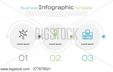 Set Line Virus, Sanitary Tampon And Wet Wipe Pack. Business Infographic Template. Vector