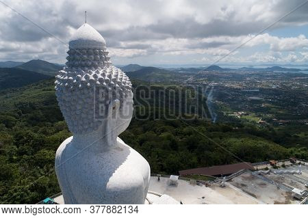 Vesak Day Background Concept Of Big Buddha Over High Mountain In Phuket Thailand Aerial View Drone S