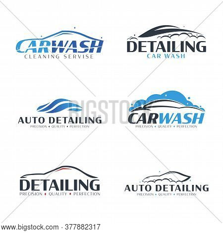 Set Of Car Wash Logos. Cleaning Car, Washing And Service. Vector Logo With Auto.