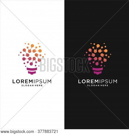 Bulb Tech Logo Icon . Bulb Logo Design Colorfull . Idea Creative Light Bulb Logo . Bulb Digital Logo