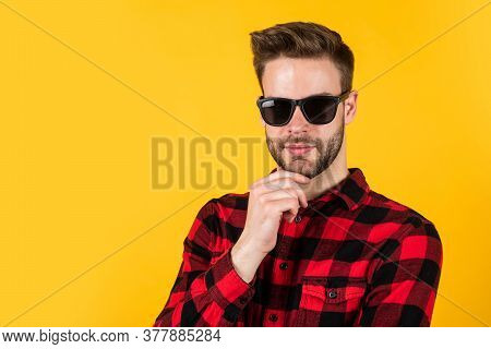 Facial Hair And Skin Care. Handsome Man Wear Checkered Shirt. Unshaven Guy In Casual Style. Male Hai