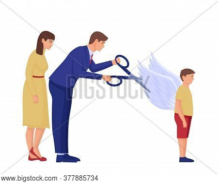 Parents Cut Wings To Child Illustration. Two