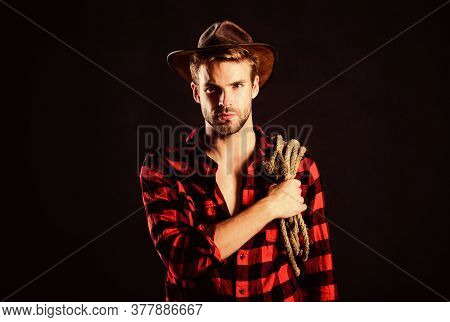 Farmer Culture. Man Checkered Shirt On Ranch. Cowboy With Lasso Rope. Western. Vintage Style Man. Wi