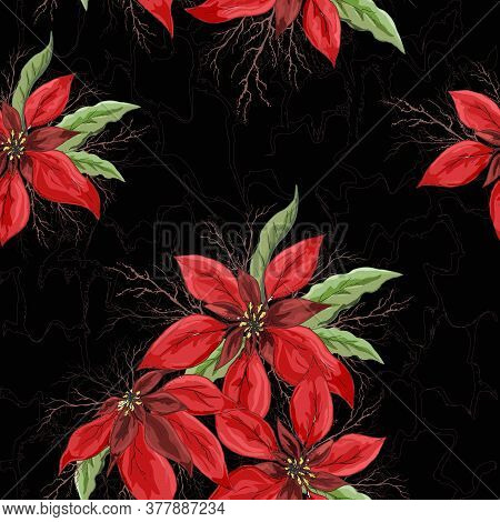 Seamless Vector Floral Pattern. Realistic Hand-drawn Doodles. Modern Background Of Winter Red Flower