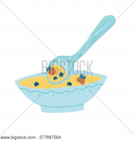 Healthy Breakfast With Porridge Or Muesli And Berries Flat Doodle Isolated Illustration. Cereal Bowl