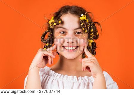 Just Smile. Fabric Mask Under Eyes For Beauty. Cute Kid Standing With Patches Under Eyes. Child Fash
