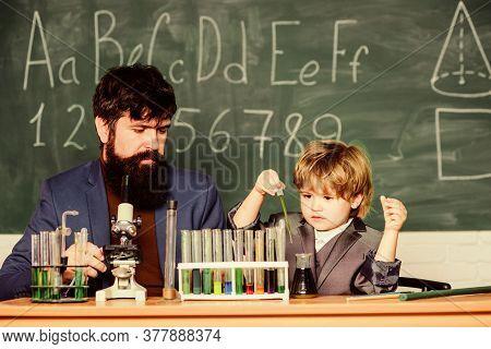 Teacher Bearded Scientist Man Child Test Tubes. Chemical Experiment. Genius Child Private Lesson. Kn
