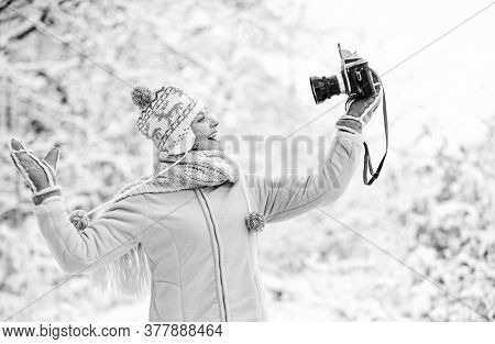 Ready For Weather Forecast. Expedition. Winter Girl With Vintage Camera. Happy Woman Make Selfie On