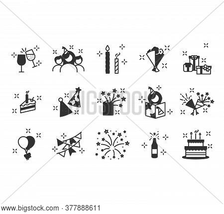 Simple Birthday Icons Set. Celebration Icons And Party. Included The Icons As Celebration, Anniversa