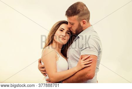 Couple In Love. Cute Relationship. Man And Woman Cuddle Nature Background. Supporting Her. Together