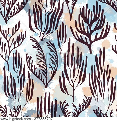 Coral Reef Seamless Pattern. Paint Splashes Drops Watercolor Background. Organic Botanical Pattern.