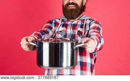 For You. Mature Chef In Checkered Shirt. Prepare Meal Food At Home. Professional Cook. Bearded Man H