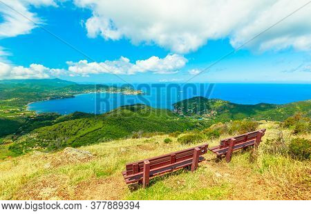 Relax Benches To Admire Panoramic Views Of Portoferraio Gulf, Elba Island, During Hiking To Volterra