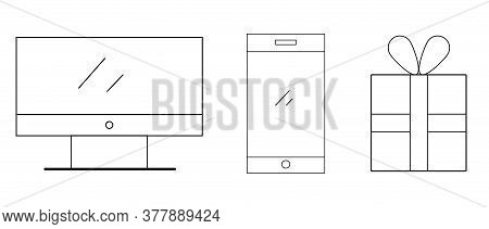 Thin Line Icon Tech Set. Black And White Vector Illustration. Logo, Elements. Gift Box, Smartphone,