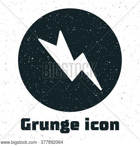 Grunge Lightning Bolt Icon Isolated On White Background. Flash Sign. Charge Flash Icon. Thunder Bolt