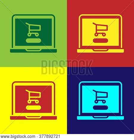 Pop Art Shopping Cart On Screen Laptop Icon Isolated On Color Background. Concept E-commerce, E-busi