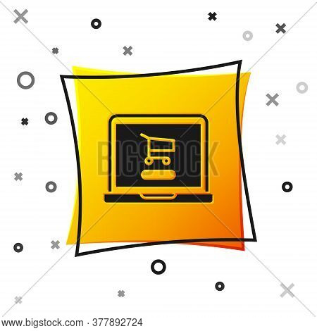 Black Shopping Cart On Screen Laptop Icon Isolated On White Background. Concept E-commerce, E-busine