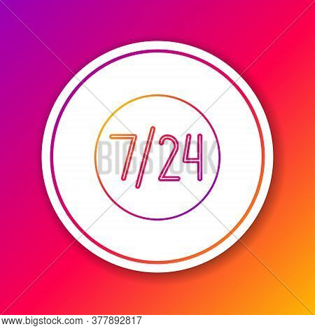 Color Line Clock 24 Hours Icon Isolated On Color Background. All Day Cyclic Icon. 24 Hours Service S