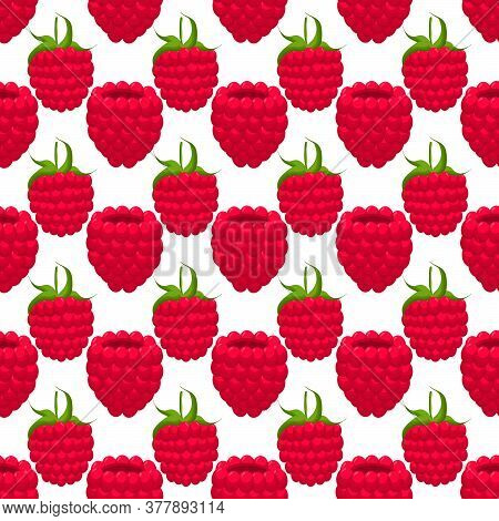 Theme Big Colored Seamless Red Raspberry, Bright Berry Pattern For Seal. Berry Pattern Consisting Of