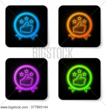 Glowing Neon Consumer Or Customer Product Rating Icon Isolated On White Background. Black Square But