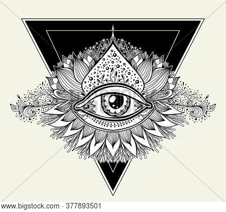 Abstract Symbol Of All-seeing Eye In Boho Eastern  Ethnic Style Black On White  For Tattoo Or For De