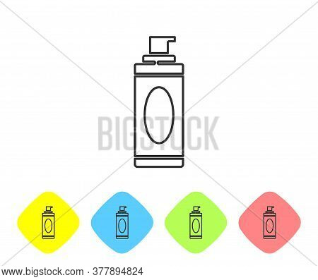 Grey Line Shaving Gel Foam Icon Isolated On White Background. Shaving Cream. Set Icons In Color Rhom