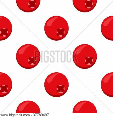 Theme Big Colored Seamless Red Cranberry, Bright Berry Pattern For Seal. Berry Pattern Consisting Of