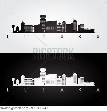 Lusaka, Zambia Skyline And Landmarks Silhouette, Black And White Design, Vector Illustration.