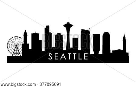Seattle Skyline Silhouette. Black Seattle City Design Isolated On White Background.