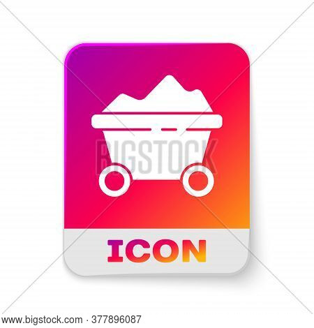 White Coal Mine Trolley Icon Isolated On White Background. Factory Coal Mine Trolley. Rectangle Colo