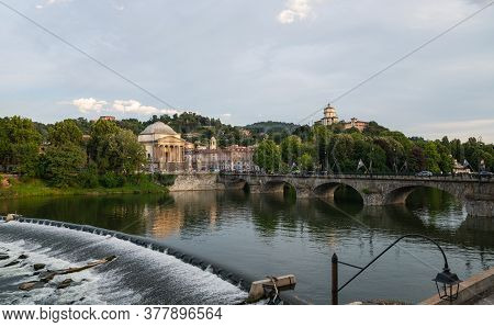 Turin, Piedmont, Italy. July 2020. Wonderful Evening View Of The Gran Madre Church Overlooking The P