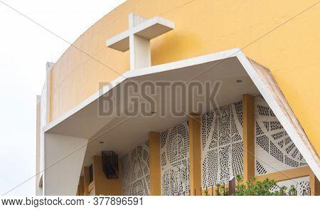 Facade Of The Sanctuary Basilica Nossa Senhora Da Medianeira In Santa Maria Rs Brazil