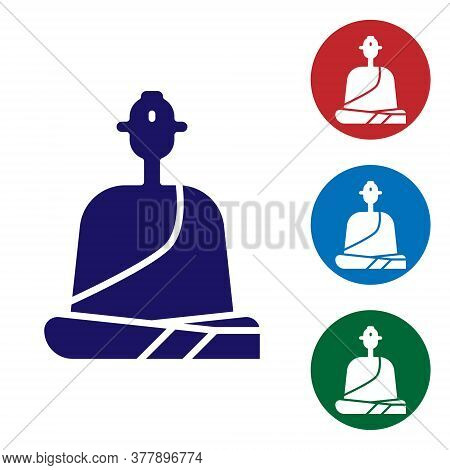 Blue Buddhist Monk In Robes Sitting In Meditation Icon Isolated On White Background. Set Icons In Co
