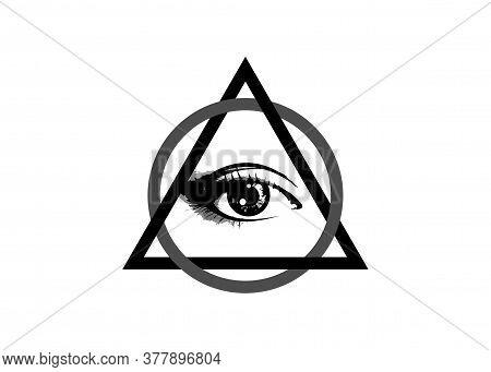 Sacred Masonic Symbol. All Seeing Eye, The Third Eye (the Eye Of Providence)  Inside Triangle Pyrami