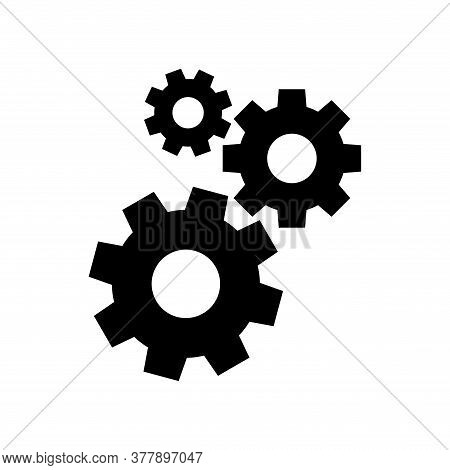 Cog Black For Mechanization Icon Isolated On White, Gear Symbol For Engineering Mechanism, Machinery