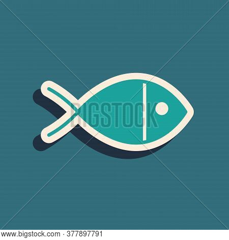 Green Christian Fish Symbol Icon Isolated On Green Background. Jesus Fish Symbol. Long Shadow Style.