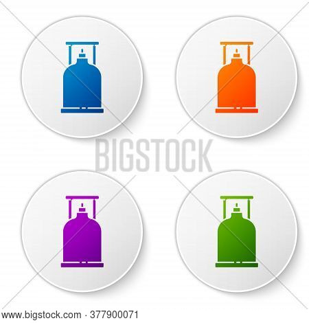 Color Camping Gas Stove Icon Isolated On White Background. Portable Gas Burner. Hiking, Camping Equi