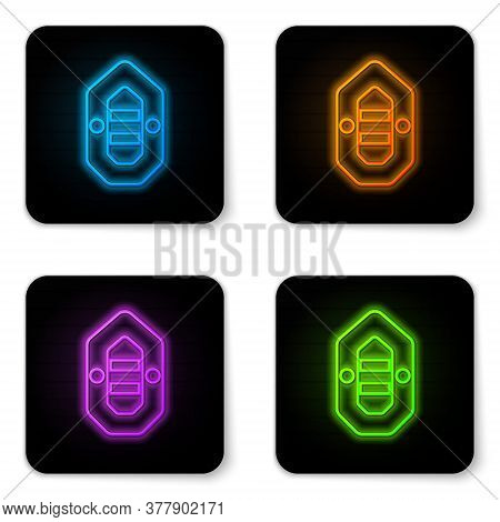 Glowing Neon Rafting Boat Icon Isolated On White Background. Inflatable Boat. Water Sports, Extreme