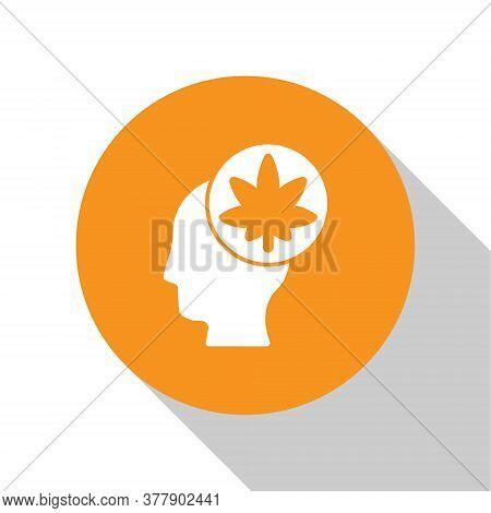 White Male Head In Profile With Marijuana Or Cannabis Leaf Icon Isolated On White Background. Mariju