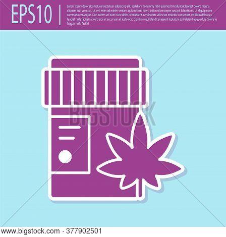 Retro Purple Medical Bottle With Marijuana Or Cannabis Leaf Icon Isolated On Turquoise Background. M