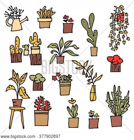 Home Indoor Plants And Flowers In Pots, Stickers. Gardening, Garden Cart With Beautiful Flowers, Dif