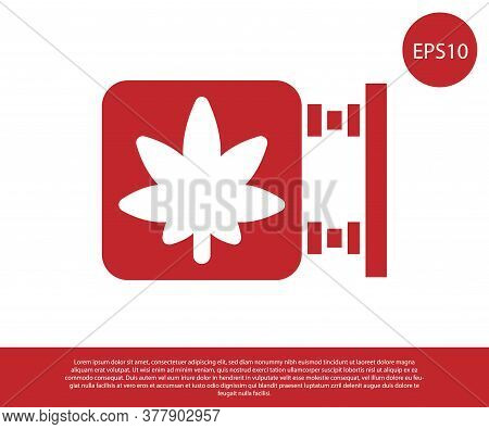 Red Marijuana And Cannabis Store Icon Isolated On White Background. Equipment And Accessories For Sm