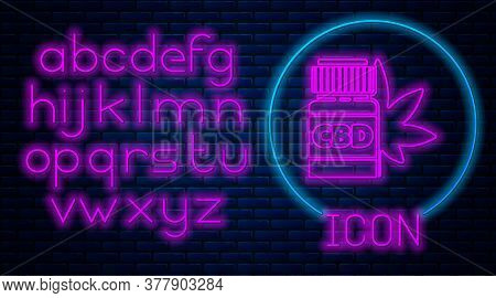 Glowing Neon Medical Bottle With Marijuana Or Cannabis Leaf Icon Isolated On Brick Wall Background.