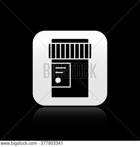 Black Medical Bottle With Marijuana Or Cannabis Leaf Icon Isolated On Black Background. Mock Up Of C