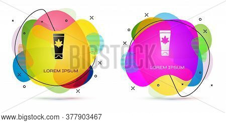 Color Medical Cream With Marijuana Or Cannabis Leaf Icon Isolated On White Background. Mock Up Of Ca