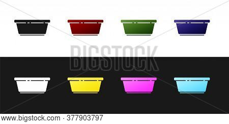 Set Plastic Basin Icon Isolated On Black And White Background. Bowl With Water. Washing Clothes, Cle