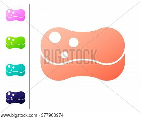 Coral Sponge Icon Isolated On White Background. Wisp Of Bast For Washing Dishes. Cleaning Service Co