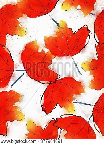 Autumn Maple Leaf Seamless Background, Fall Season Image, Digital Watercolor Painting
