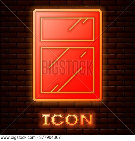 Glowing Neon Cleaning Service For Windows Icon Isolated On Brick Wall Background. Squeegee, Scraper,